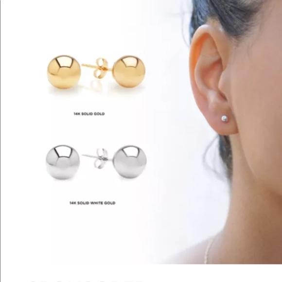 e0da04f8d Jewelry | 14k Whiteyellow Solid Gold Ball Stud Earrings | Poshmark